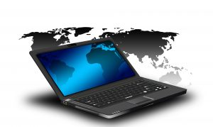 laptop with Continents